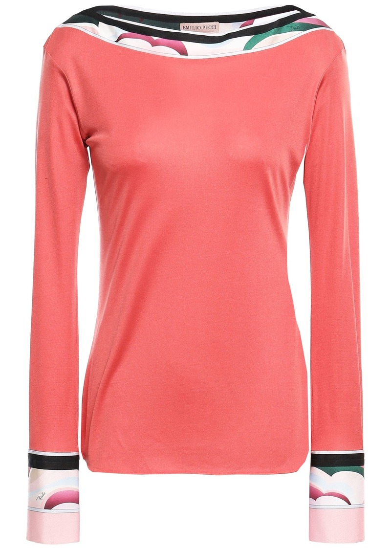 Emilio Pucci Woman Printed Silk-jersey Top Bubblegum