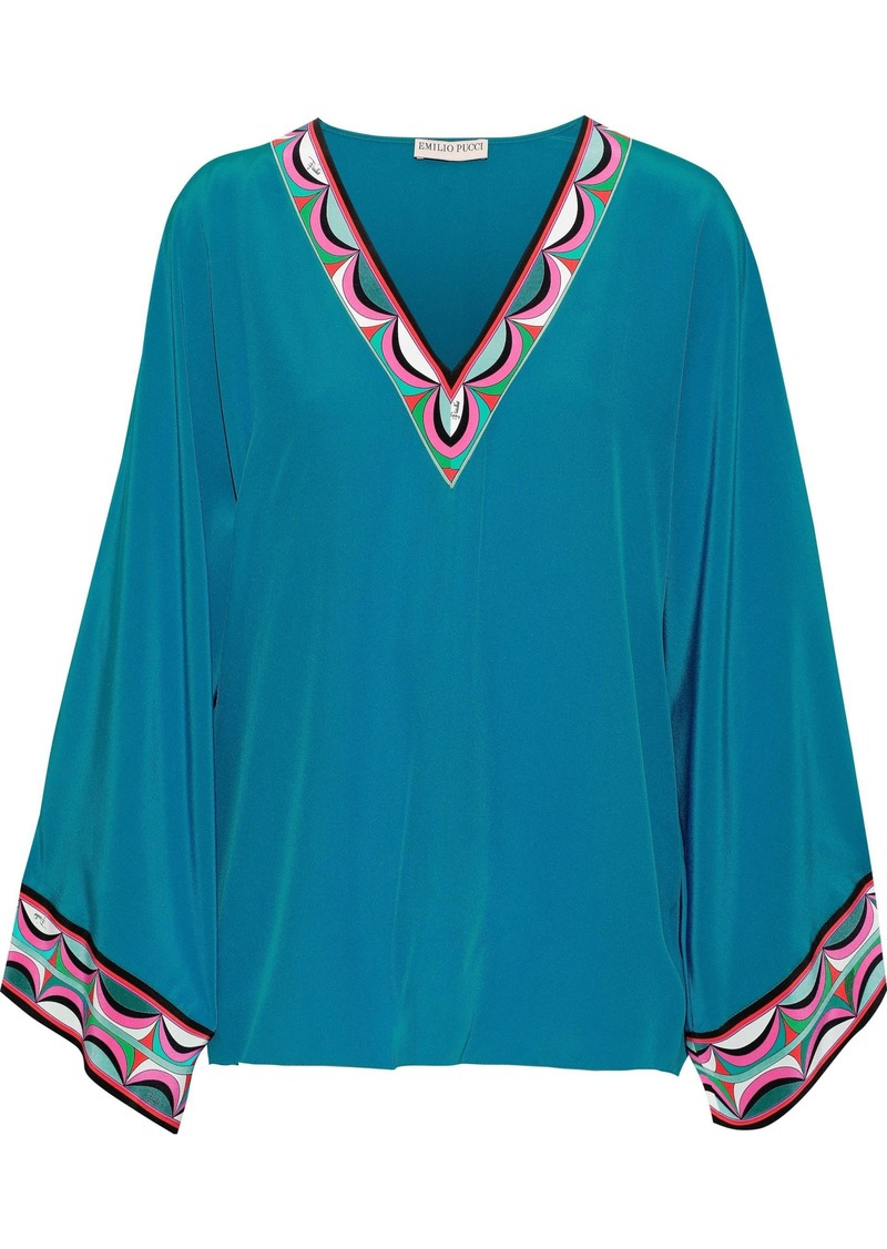 Emilio Pucci Woman Printed Silk-satin Top Teal