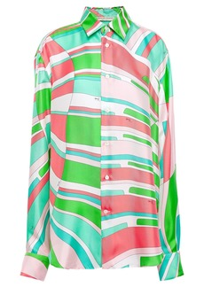 Emilio Pucci Woman Printed Silk Satin-twill Shirt Lime Green