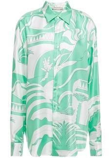 Emilio Pucci Woman Printed Silk-satin Twill Shirt Mint