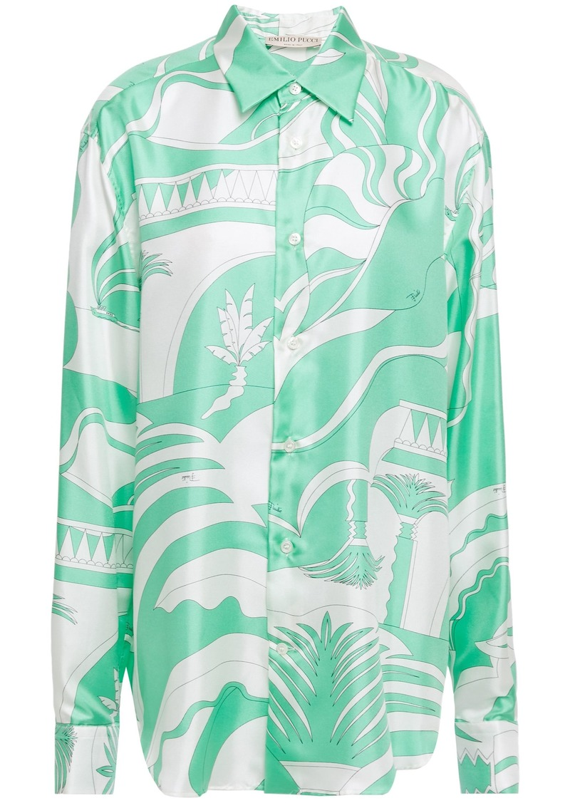 Emilio Pucci Woman Printed Silk-satin Twill Shirt Mint