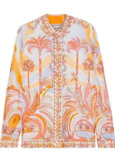 Emilio Pucci Woman Printed Silk Satin-twill Shirt Pastel Orange
