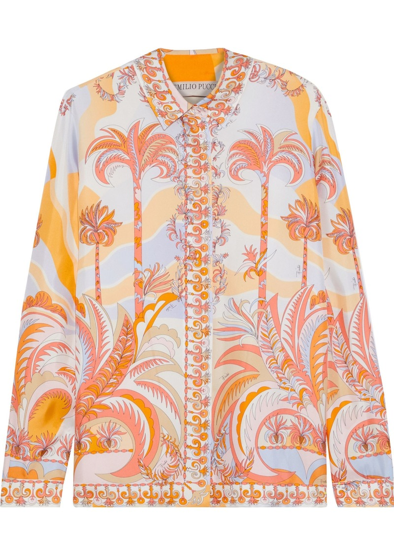 Emilio Pucci Woman Printed Silk Satin-twill Shirt Pastel Orange