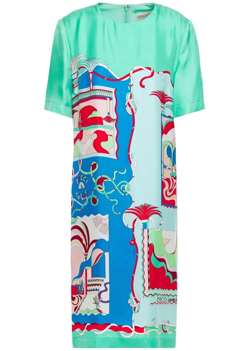 Emilio Pucci Woman Printed Silk-twill Dress Mint