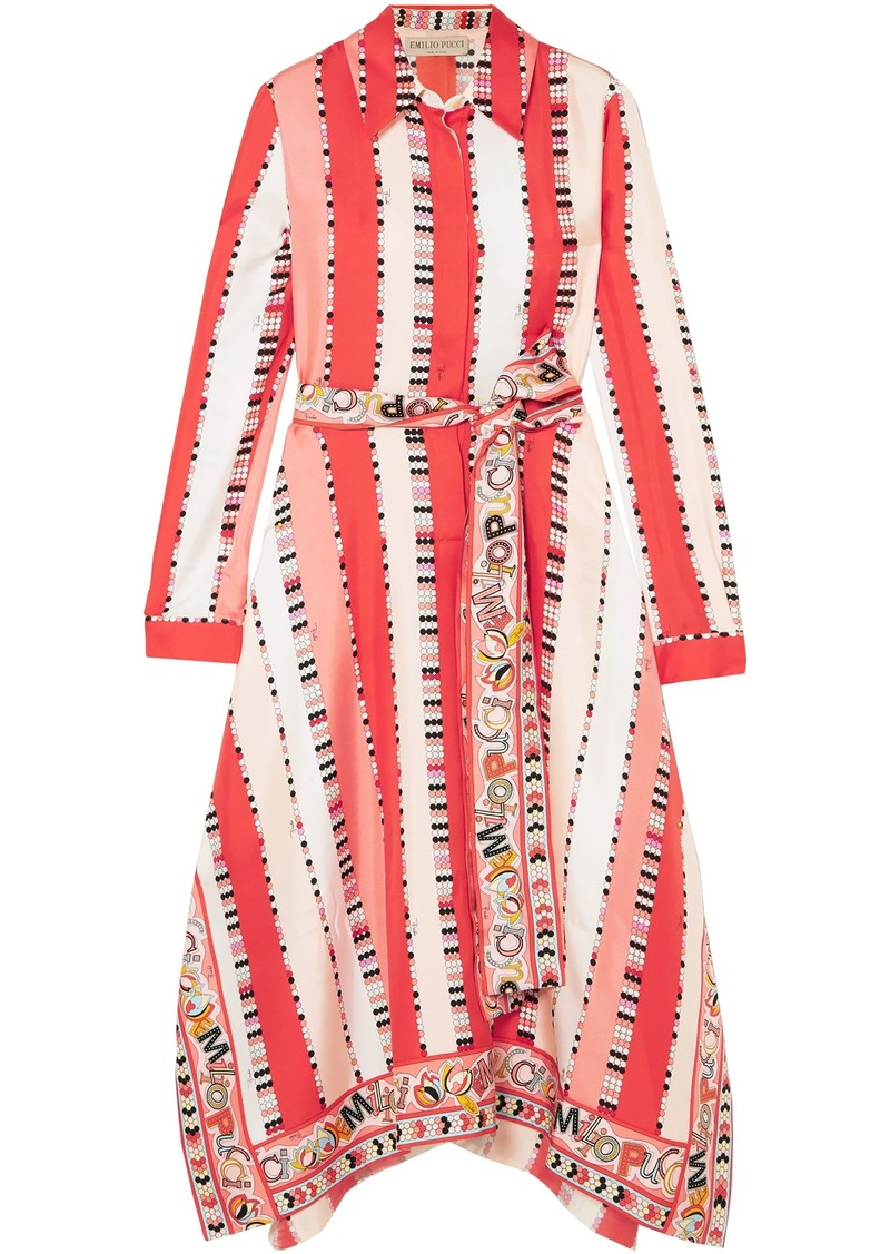 Emilio Pucci Woman Printed Silk-twill Midi Dress Papaya