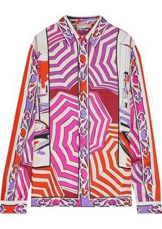 Emilio Pucci Woman Printed Silk-twill Shirt Magenta