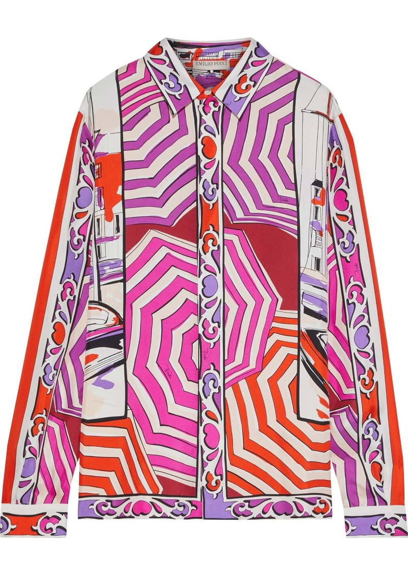 Emilio Pucci Woman Printed Silk-twill Shirt Magenta