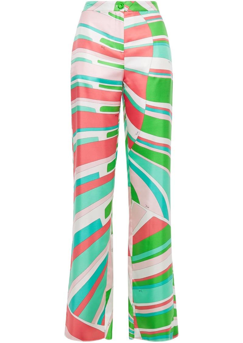 Emilio Pucci Woman Printed Silk-twill Straight-leg Pants Bright Green