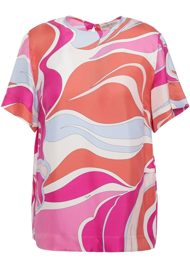 Emilio Pucci Woman Printed Silk-twill T-shirt Fuchsia