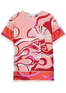 Emilio Pucci Woman Printed Silk-twill Top Blush