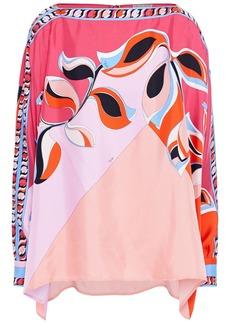 Emilio Pucci Woman Printed Silk-twill Top Crimson