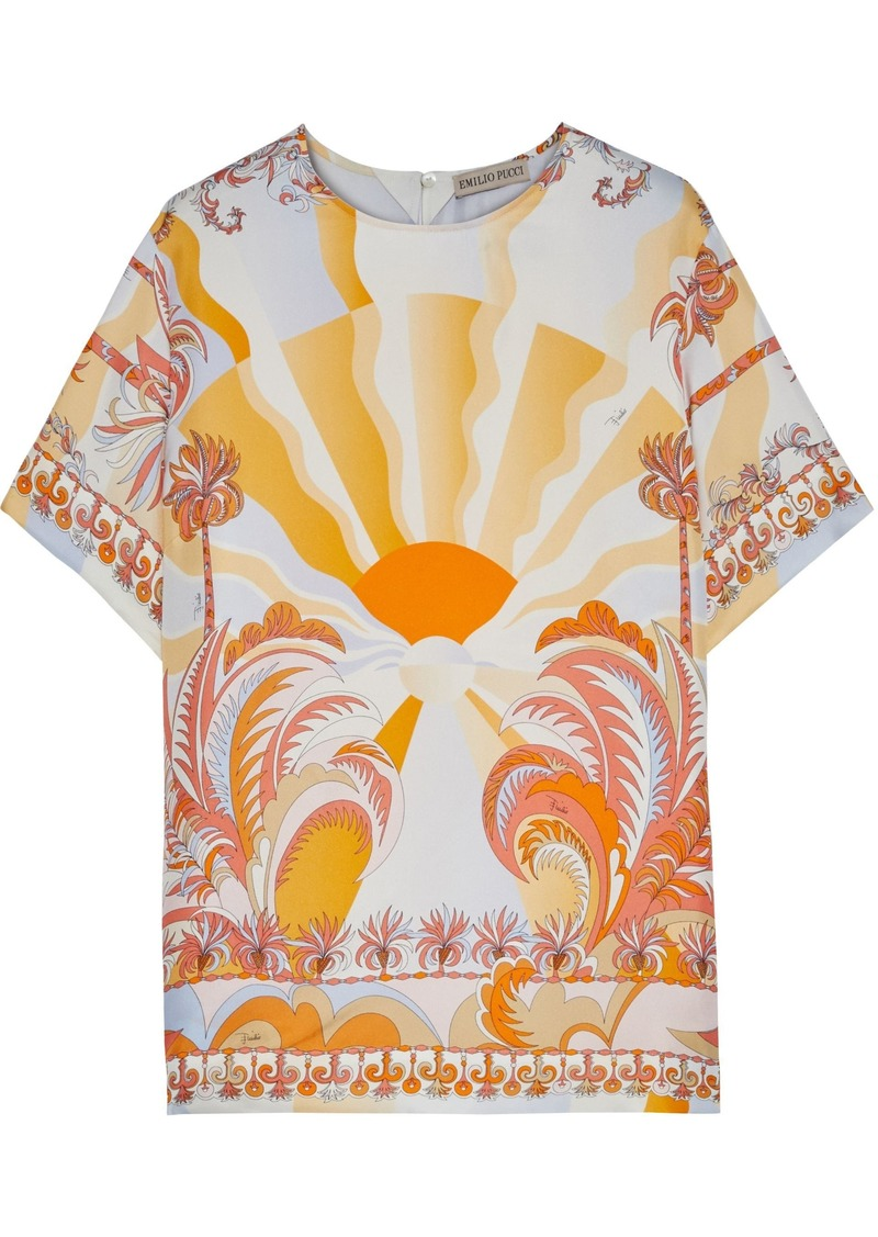 Emilio Pucci Woman Printed Silk-twill Top Peach