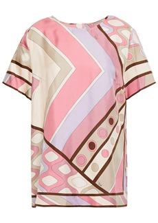Emilio Pucci Woman Printed Silk-twill Top Pink