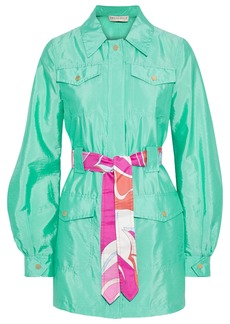 Emilio Pucci Woman Printed Silk Twill-trimmed Crinkled-shell Jacket Light Green