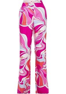 Emilio Pucci Woman Printed Silk-twill Wide-leg Pants Fuchsia