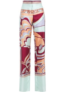 Emilio Pucci Woman Printed Silk-twill Wide-leg Pants Mint