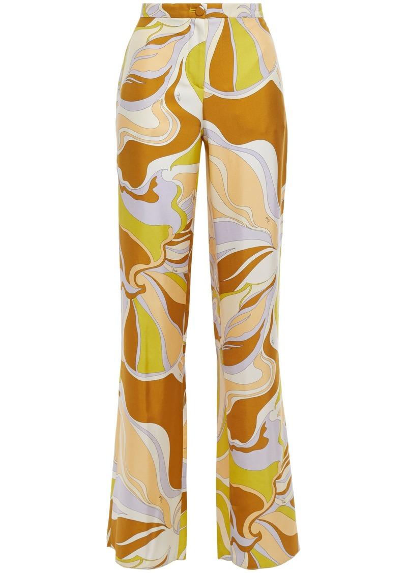 Emilio Pucci Woman Printed Silk-twill Wide-leg Pants Mustard
