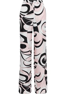 Emilio Pucci Woman Printed Silk-twill Wide-leg Pants Pastel Pink