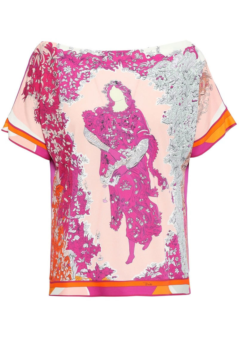 Emilio Pucci Woman Printed Stretch-jersey Top Fuchsia