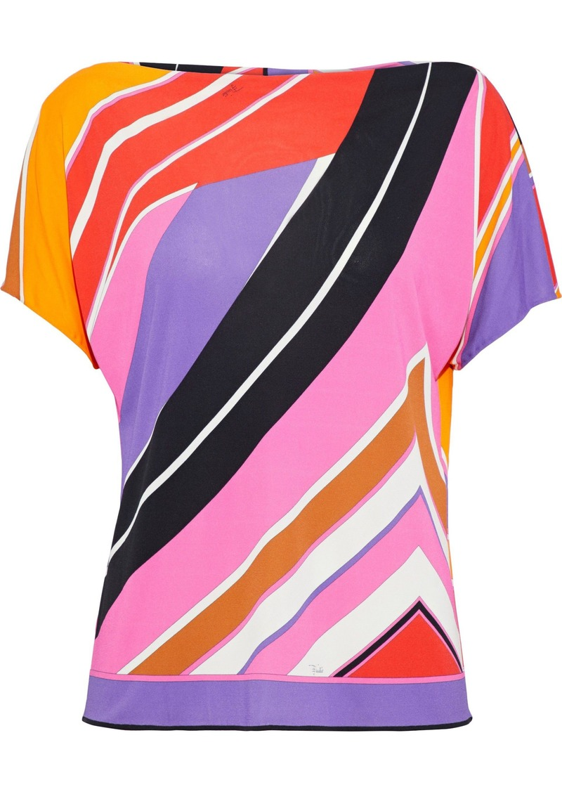 Emilio Pucci Woman Printed Stretch-jersey Top Multicolor