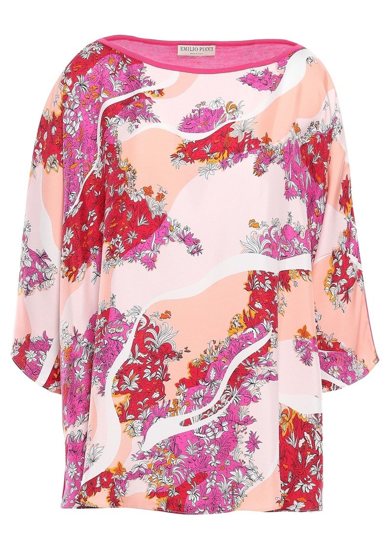 Emilio Pucci Woman Printed Twill-paneled Silk Top Peach