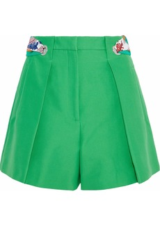 Emilio Pucci Woman Printed Twill-trimmed Pleated Cotton Shorts Bright Green