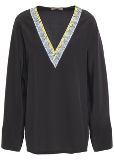 Emilio Pucci Woman Printed Twill-trimmed Silk Crepe De Chine Blouse Black