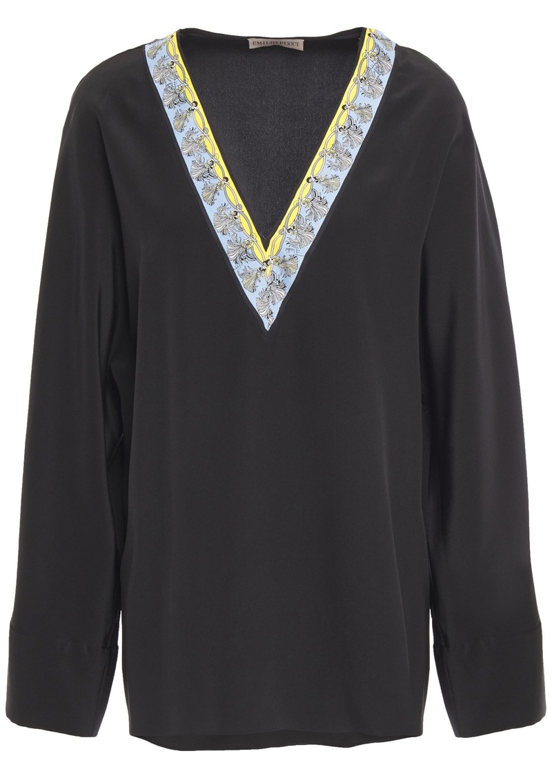 Emilio Pucci Woman Printed Twill-trimmed Silk Crepe De Chine Blouse Black