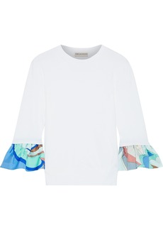 Emilio Pucci Woman Printed Twill-trimmed Silk Sweater White