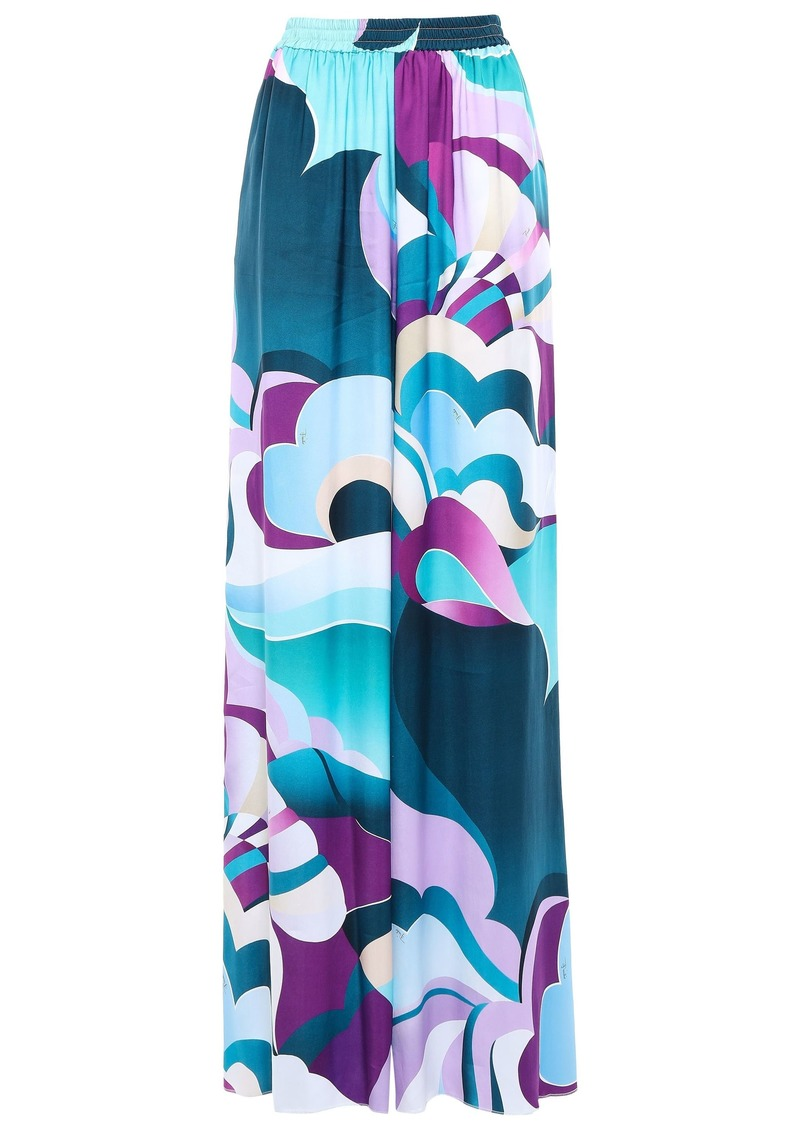 Emilio Pucci Woman Printed Twill Wide-leg Pants Multicolor