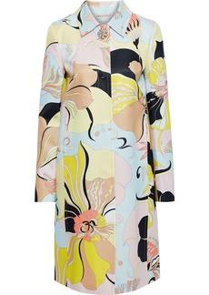 Emilio Pucci Woman Printed Wool And Silk-blend Gabardine Coat Pastel Yellow