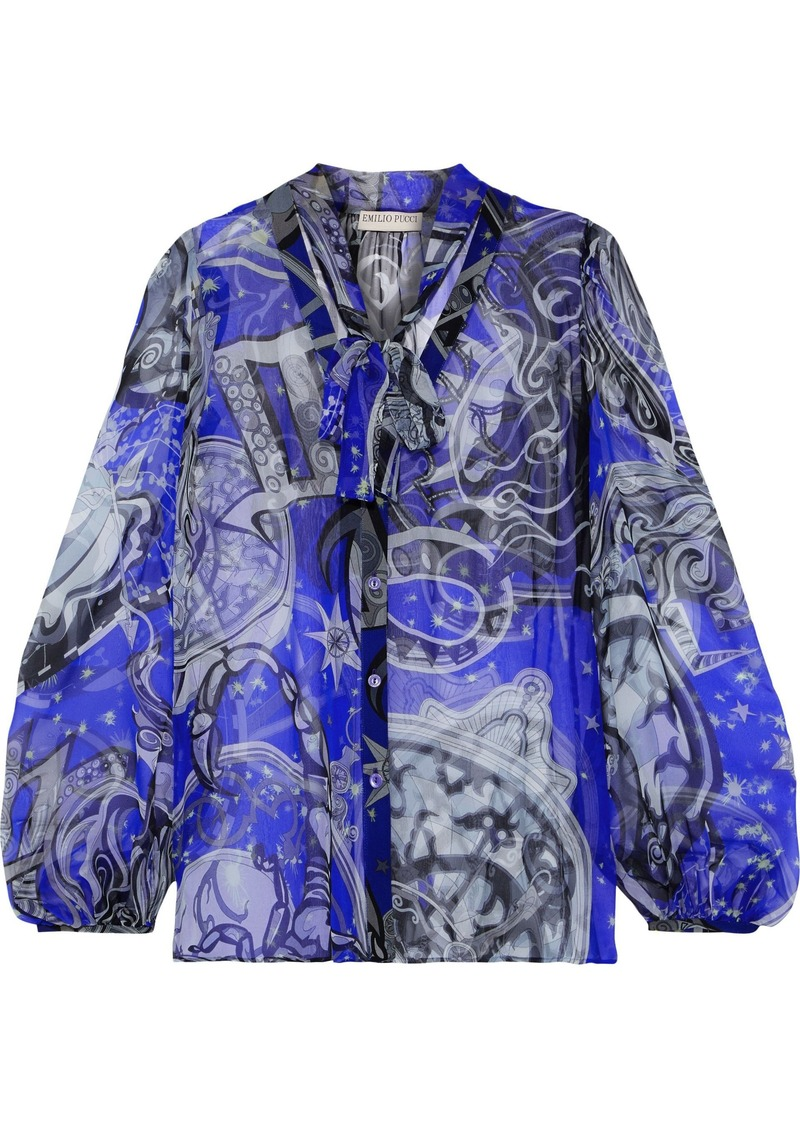 Emilio Pucci Woman Pussy-bow Printed Silk-georgette Blouse Royal Blue