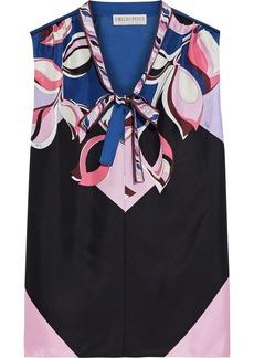 Emilio Pucci Woman Pussy-bow Printed Silk-twill Top Black