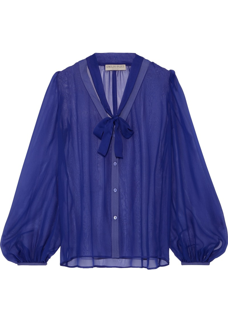 Emilio Pucci Woman Pussy-bow Silk-georgette Blouse Royal Blue