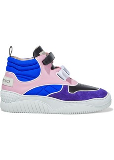 Emilio Pucci Woman Quilted Neoprene Leather And Suede High-top Sneakers Bright Blue