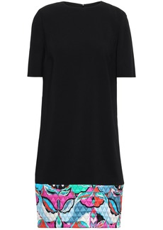 Emilio Pucci Woman Quilted Printed Satin-trimmed Crepe Mini Dress Black