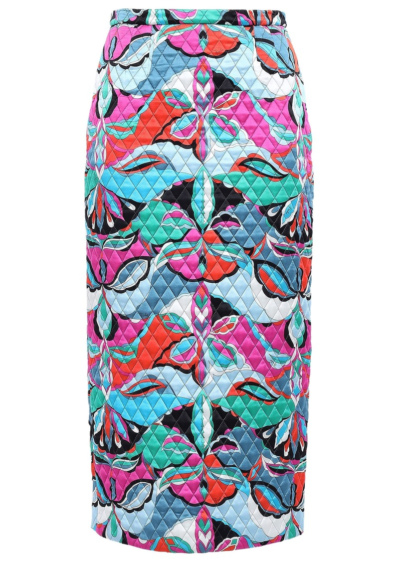 Emilio Pucci Woman Quilted Printed Silk-blend Satin Midi Pencil Skirt Sky Blue