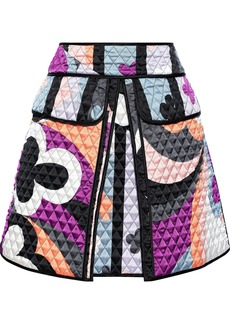 Emilio Pucci Woman Quilted Printed Silk-blend Satin Mini Skirt Light Blue