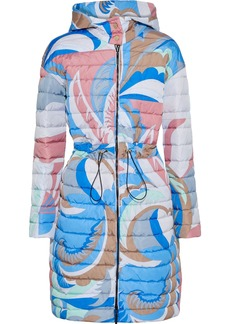 Emilio Pucci Woman Reversible Printed Quilted Shell Hooded Coat Azure