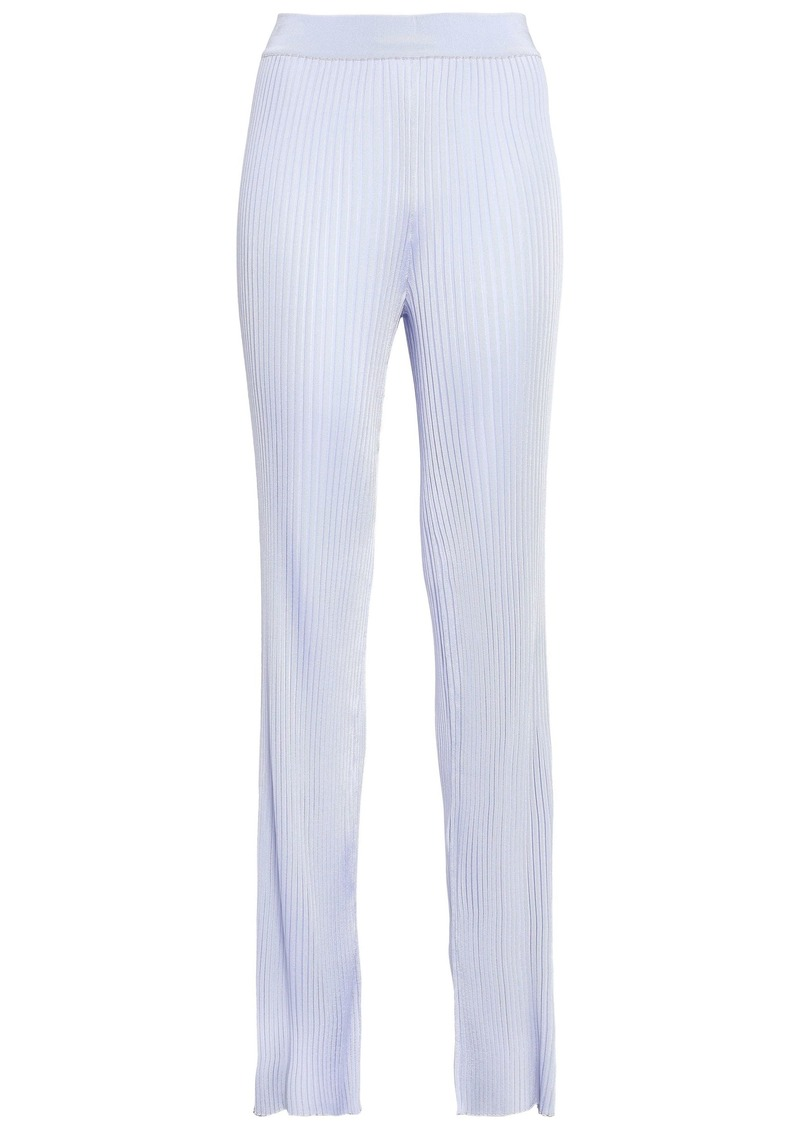 Emilio Pucci Woman Ribbed-knit Bootcut Pants Lilac