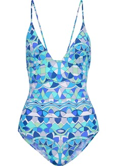 Emilio Pucci Woman Ring-embellished Printed Swimsuit Turquoise