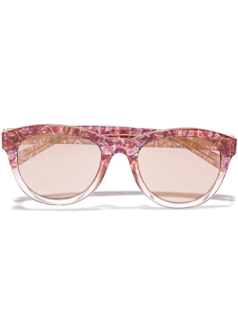 Emilio Pucci Woman Round-frame Printed Acetate Sunglasses Bubblegum
