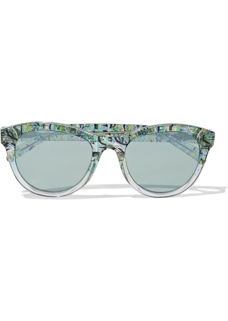 Emilio Pucci Woman Round-frame Printed Acetate Sunglasses Mint