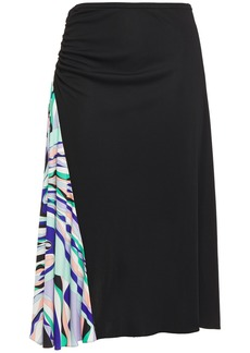 Emilio Pucci Woman Ruched Paneled Printed Stretch-jersey Skirt Black