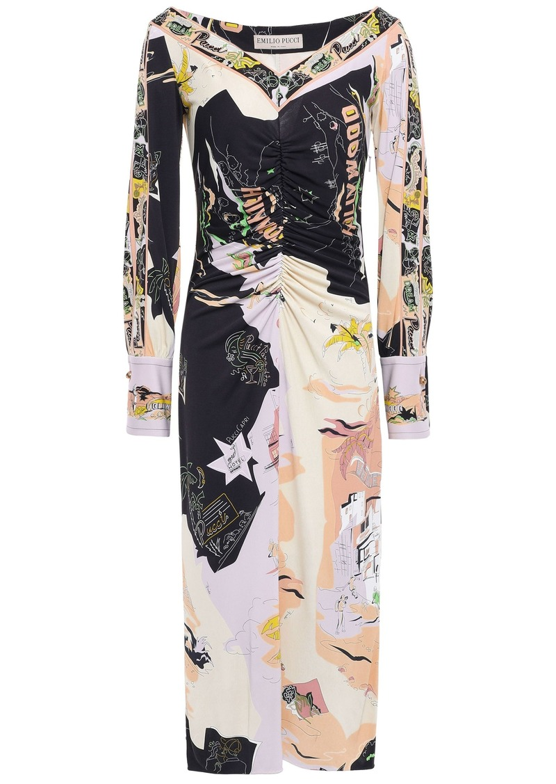 Emilio Pucci Woman Ruched Printed Jersey Midi Dress Black