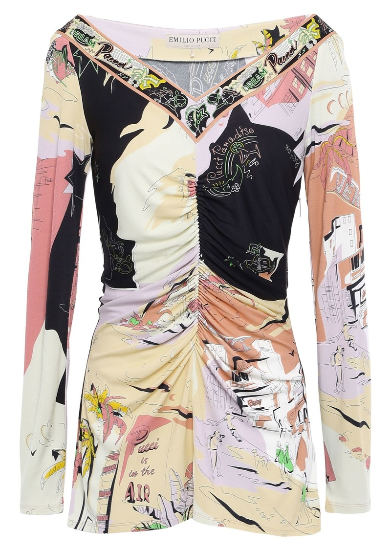Emilio Pucci Woman Ruched Printed Jersey Top Black