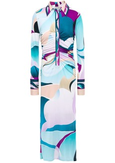 Emilio Pucci Woman Ruched Printed Silk-jersey Midi Dress Turquoise