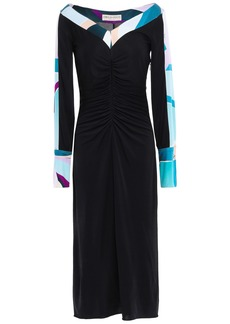 Emilio Pucci Woman Ruched Silk-jersey Midi Dress Black