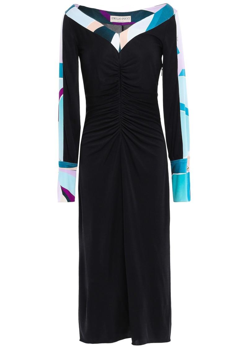 Emilio Pucci Woman Ruched Silk-jersey Midi Dress Black