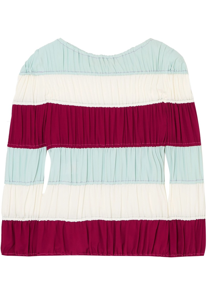 Emilio Pucci Woman Ruched Striped Crepe De Chine Top Multicolor